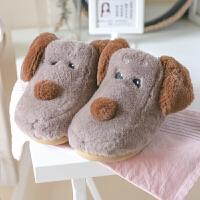 棉拖鞋女冬季可爱卡通亲子情侣家居室内保暖包跟厚底防滑儿童拖鞋