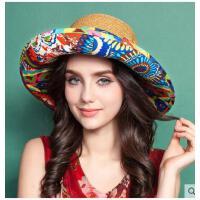 帽子女士夏 天韩版草帽防紫外线遮阳帽大沿太阳帽沙 滩帽防晒可折叠
