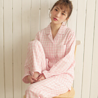 情侣睡衣春秋季纯棉纱布长袖女款男士夏季薄款家居服套装 粉红色 MS3336女款格纹 X