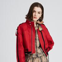 DAZZLE地素 新款 时髦斜袋盖拼接风衣款短外套 2F3F102