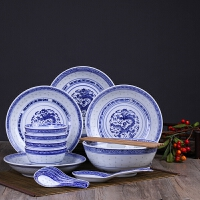 景德镇青花瓷碗套装家用复古中式釉下彩盘子简约组合创意陶瓷餐具
