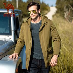 骆驼男装 冬款新品宽松连帽中长款纯色夹棉夹克厚休闲外套男