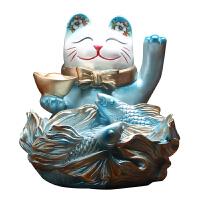 猫收纳摆件创意欧式酒柜玄关装饰品鞋柜钥匙收纳盘开业礼品