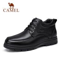camel骆驼男鞋 新品中青年商务休闲高帮靴子英伦系带牛皮鞋