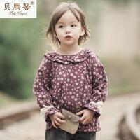【当当自营】贝康馨 女童喇叭袖翻领套头衫 韩版纯棉可爱衬衫新款秋装