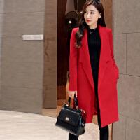 毛呢外套女春新款韩版宽松大码女装修身显身中长款呢子大衣 XQ-6003