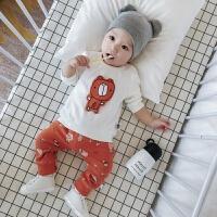 婴儿套装春秋季女宝宝上衣裤子纯棉休闲套装新生儿0-1岁2男童春装