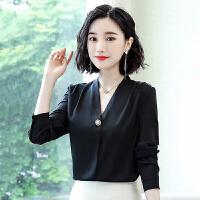 衬衫 女士V领缎面小心机长袖衬衫2019年秋季新款韩版时尚潮流女式修身显瘦女装套头衫