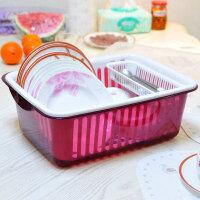 带盖沥水碗架餐具收纳盒碗柜塑料厨房沥水碗架带盖碗筷餐具收纳盒放碗碟架滴水碗盘置物架酒红色