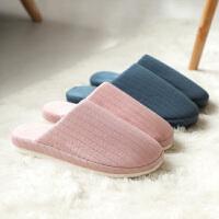朴西 新款日式情侣室内家居棉鞋家用拖鞋男 冬天防滑居家棉拖鞋女