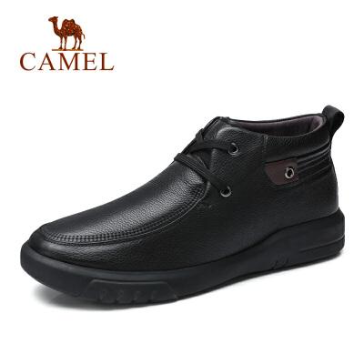 camel骆驼男鞋 秋冬新品加绒商务系带牛皮靴中帮休闲保暖时尚皮鞋