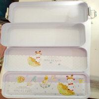 文具盒 学生卡通可爱小熊三层带扣大容量铁盒 儿童铅笔盒