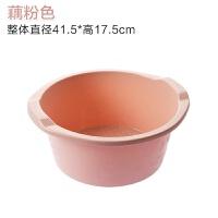 加厚塑料洗脚盆带按摩泡脚盆家用大号洗衣盆子创意按摩足浴盆 藕粉色 400g