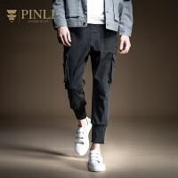 PINLI品立2020春季新款男装多口袋工装束脚牛仔九分裤B201216090