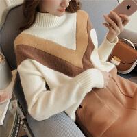新款撞色半高领毛衣女春季加厚韩版学生宽松兔毛打底针织衫4278 均码