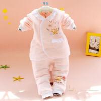 0女宝宝2保暖款3童4婴儿5内衣服7夹棉8开衫6个月1岁半9幼儿套装 中粉红 /保暖款 蕾丝粉色