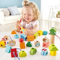 Hape丛林火车串珠套18M-3-6岁儿童宝宝早教益智玩具积木拼插木制
