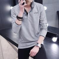 秋季男士薄款T恤长袖衬衫带领子衣服男装青年翻领打底polo衫
