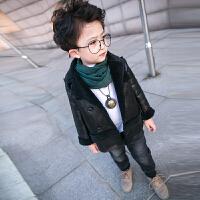 男童皮衣外套2017新款韩版秋宝宝夹克加绒加厚婴幼儿1-2-3岁
