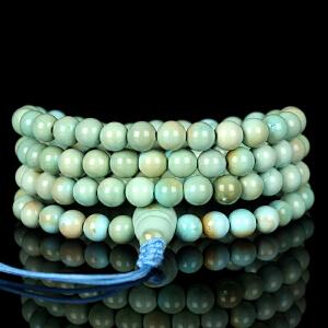 原矿高瓷高蓝绿松石108佛珠手链 直径5.2mm重23.76g