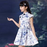 女童复古连衣裙夏装 儿童女孩中国风旗袍 中童女大童纯棉公主裙子