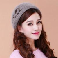 韩版潮兔毛线帽子女保暖羊毛呢帽卷边圆顶帽 贝雷帽