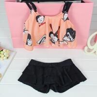 韩版泳衣女童保守游泳衣分体裙式中大童泳装平角宝宝子泳衣 粉色 M (85-100cm)