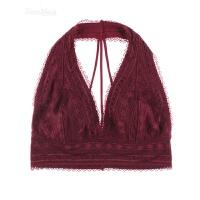 红色薄棉内衣挂脖式蕾丝背心透气性感美背无钢圈文胸