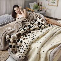 君别双面棉毯珊瑚毛绒毯子冬季用加厚法兰绒毛毯加绒床单人保暖双层被子 200cmx230cm约8斤
