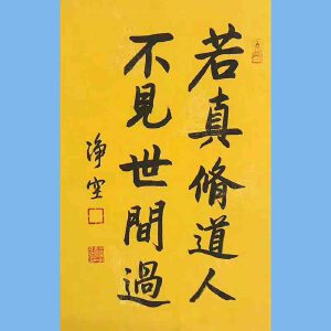 著名佛教大师,香港佛陀教育协会董事主席净空书法(若真修道人先)