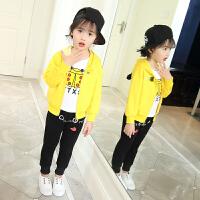 女童春装套装2018新款9岁儿童卫衣三件套6女孩5中小童韩版运动服3