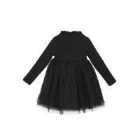 女童裙子秋款韩版中大童纯棉高领公主裙加绒加厚黑色儿童连衣裙