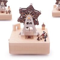 旋转音乐盒摆件音乐盒八音盒木质送女生女孩儿童生日情人节礼物小熊旋转