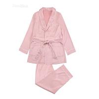 秋冬舒适翻领长袖长裤睡衣家居服两件套装女 藕粉色