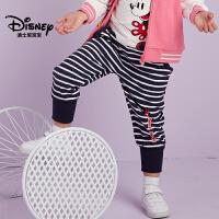 迪士尼宝宝童装中小童迪斯尼女童针织休闲长裤2018秋季新款裤子