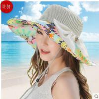 女款 可折叠女士遮阳帽 夏天防 紫外线草帽 有防风绳的沙滩太阳帽