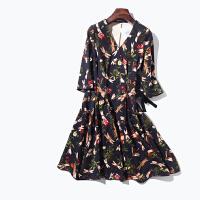II 18年早春新品 花朵蜻蜓印花 植绒绑带 连衣裙 女 F801A050