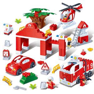 【当当自营】邦宝大颗粒益智儿童玩具拼插积木礼物 城市消防总署9637