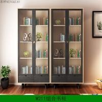 北欧实木书柜书架组合落地文件柜简约现代带玻璃门书橱m2 0.8-1米宽