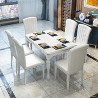 餐桌椅组合钢化玻璃桌简约现代小户型餐桌家用餐桌长方形6人饭桌