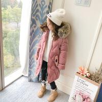 童装女童棉衣2017新款装羽绒加厚中长款棉袄丽丝绒加绒外套