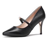 红蜻蜓女鞋2017春季新款细跟尖头高跟鞋女前绑带真皮水钻女单鞋