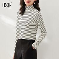 OSA欧莎秋冬季2021年新款德芙绒条纹高领打底衫T恤女