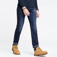 骆驼男装 秋季新款青年时尚中腰直筒洗水弹力纯色牛仔长裤男