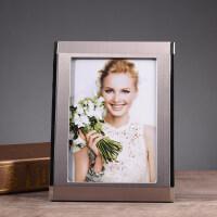 创意欧式相框摆台现代简约5 6 五六寸七寸婚纱照片框儿童画框 金属银色