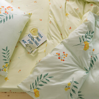 多喜爱床上四件套全棉纯棉三件套清新床单被套床上用品花意叶影1.8米床
