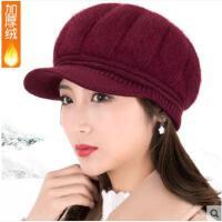 女秋冬贝雷帽韩版百搭毛线针织帽加绒保暖送妈妈老人帽冬季帽子
