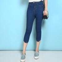 夏季新款大码高腰韩版薄款弹力七分牛仔女裤中裤    17YX668