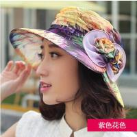 遮阳帽子网红同款时尚女户外运动新品韩版花朵大沿防晒帽紫外线可折叠沙滩太阳帽女