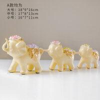 创意三只小象摆件酒柜电视柜家居装饰品客厅三连大象结婚礼物